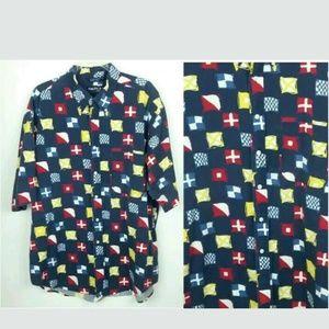 Nautica Vintage Flag Button Up Shirt Short Sleeve